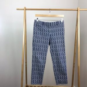 J. Crew • Cafe Capri Rope Print Pants Size 2 Blue